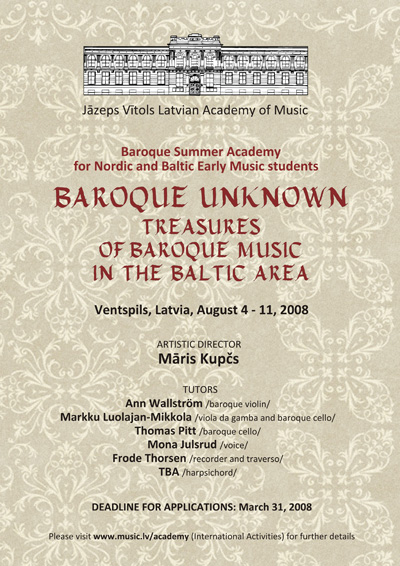 Baltic Baroque Summer Academy